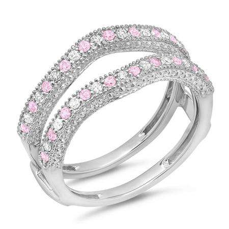 0.45 Carat (ctw) 14K White Gold Round Pink Sapphire & White Diamond Ladies Anniversary Wedding Band Millgrain Guard Double Ring 1/2 CT