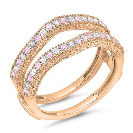 0.45 Carat (ctw) 18K Rose Gold Round Pink Sapphire & White Diamond Ladies Anniversary Wedding Band Millgrain Guard Double Ring 1/2 CT