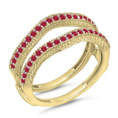 0.45 Carat (ctw) 18K Yellow Gold Round Red Ruby Ladies Anniversary Wedding Band Millgrain Guard Double Ring 1/2 CT
