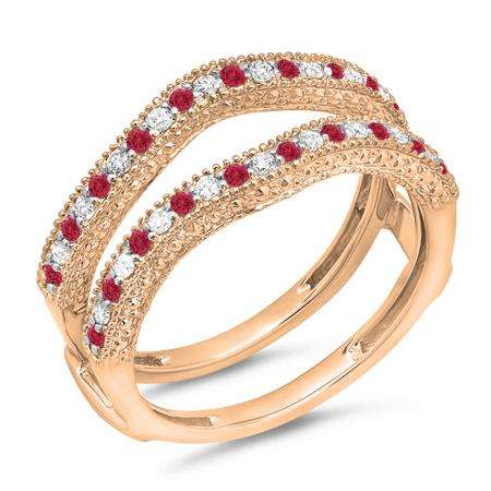 0.45 Carat (ctw) 10K Rose Gold Round Red Ruby & White Diamond Ladies Anniversary Wedding Band Millgrain Guard Double Ring 1/2 CT