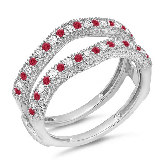 0.45 Carat (ctw) 14K White Gold Round Red Ruby & White Diamond Ladies Anniversary Wedding Band Millgrain Guard Double Ring 1/2 CT