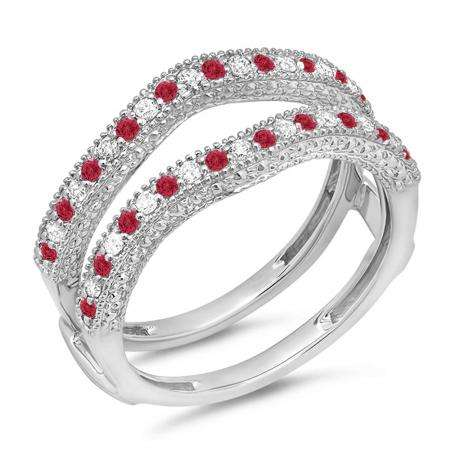 0.45 Carat (ctw) 18K White Gold Round Red Ruby & White Diamond Ladies Anniversary Wedding Band Millgrain Guard Double Ring 1/2 CT
