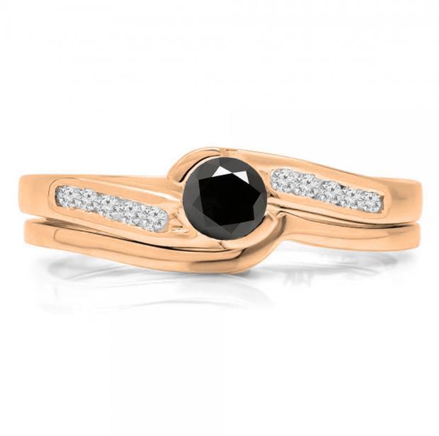 0.50 Carat (ctw) 10K Rose Gold Round Black & White Diamond Ladies Bridal Engagement Ring Set Matching Band 1/2 CT