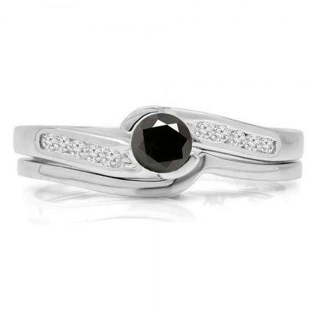 0.50 Carat (ctw) 10K White Gold Round Black & White Diamond Ladies Bridal Engagement Ring Set Matching Band 1/2 CT