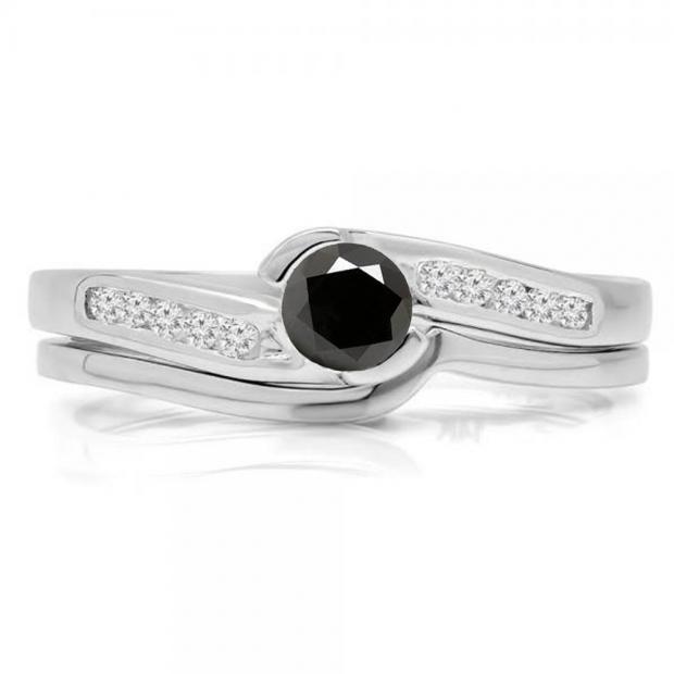 0.50 Carat (ctw) 10K White Gold Round Black & White Diamond Ladies Bridal Engagement Ring Set Matching Band 1/2 CT
