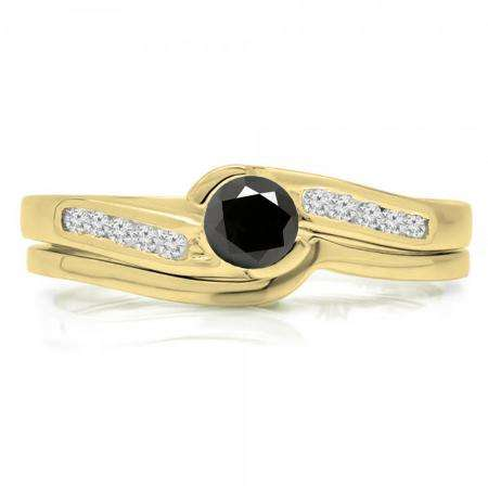 0.50 Carat (ctw) 10K Yellow Gold Round Black & White Diamond Ladies Bridal Engagement Ring Set Matching Band 1/2 CT