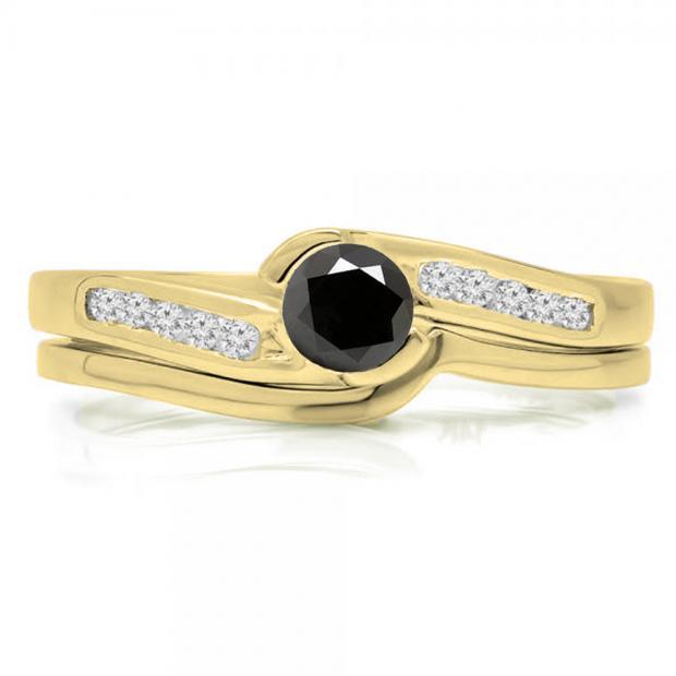 0.50 Carat (ctw) 18K Yellow Gold Round Black & White Diamond Ladies Bridal Engagement Ring Set Matching Band 1/2 CT