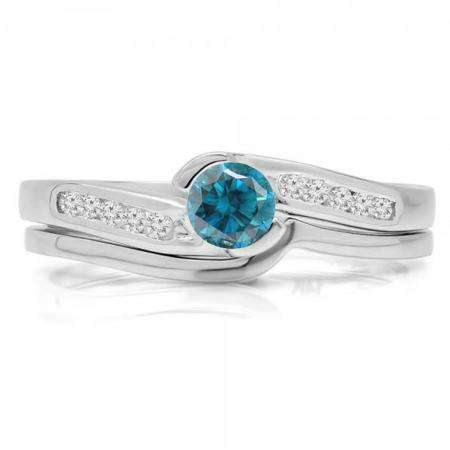 0.50 Carat (ctw) 18K White Gold Round Blue & White Diamond Ladies Bridal Engagement Ring Set Matching Band 1/2 CT