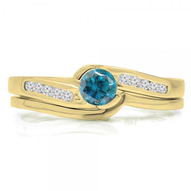 0.50 Carat (ctw) 18K Yellow Gold Round Blue & White Diamond Ladies Bridal Engagement Ring Set Matching Band 1/2 CT