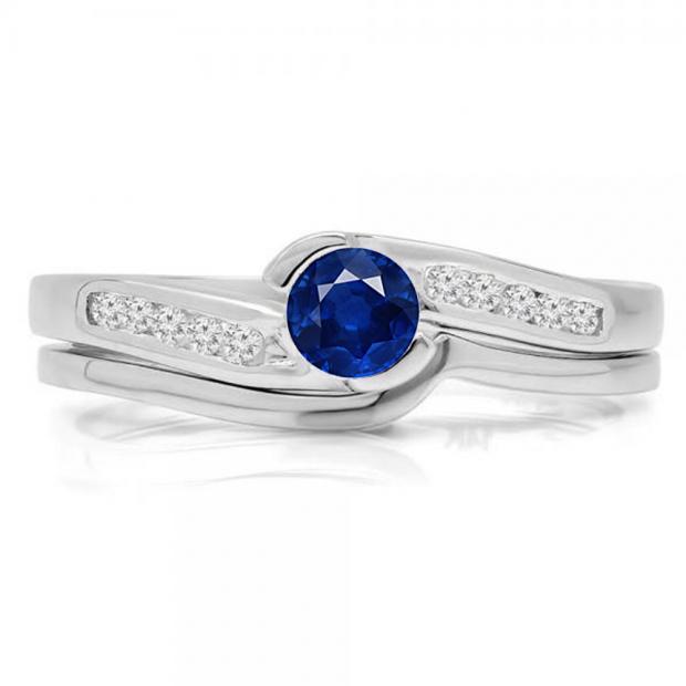 0.50 Carat (ctw) 14K White Gold Round Blue Sapphire & White Diamond Ladies Bridal Engagement Ring Set Matching Band 1/2 CT