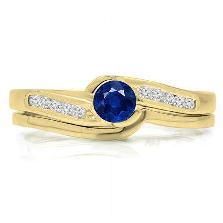 0.50 Carat (ctw) 14K Yellow Gold Round Blue Sapphire & White Diamond Ladies Bridal Engagement Ring Set Matching Band 1/2 CT