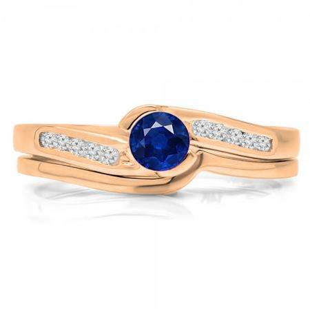 0.50 Carat (ctw) 18K Rose Gold Round Blue Sapphire & White Diamond Ladies Bridal Engagement Ring Set Matching Band 1/2 CT
