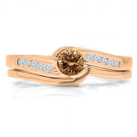 0.50 Carat (ctw) 14K Rose Gold Round Champagne & White Diamond Ladies Bridal Engagement Ring Set Matching Band 1/2 CT