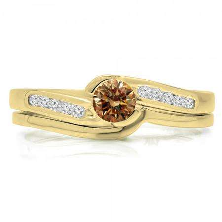 0.50 Carat (ctw) 18K Yellow Gold Round Champagne & White Diamond Ladies Bridal Engagement Ring Set Matching Band 1/2 CT