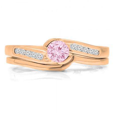 0.50 Carat (ctw) 18K Rose Gold Round Pink Sapphire & White Diamond Ladies Bridal Engagement Ring Set Matching Band 1/2 CT