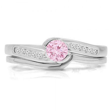 0.50 Carat (ctw) 18K White Gold Round Pink Sapphire & White Diamond Ladies Bridal Engagement Ring Set Matching Band 1/2 CT