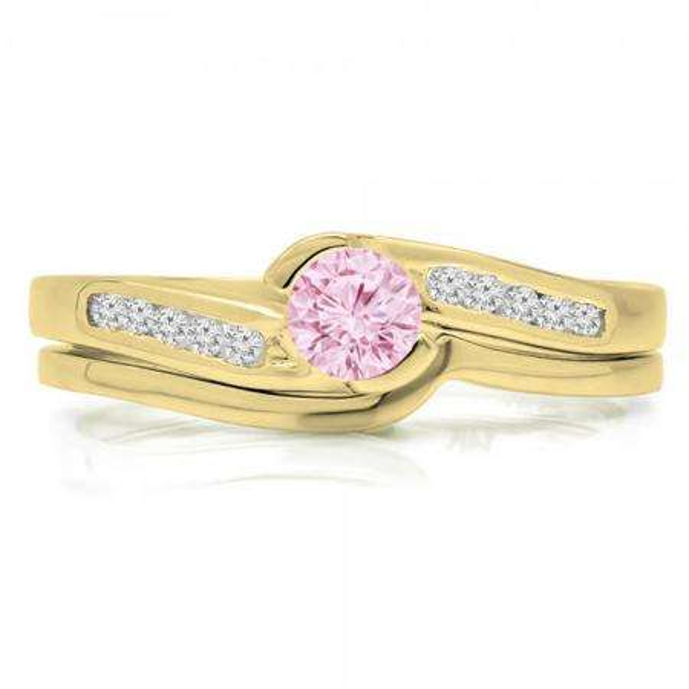 0.50 Carat (ctw) 18K Yellow Gold Round Pink Sapphire & White Diamond Ladies Bridal Engagement Ring Set Matching Band 1/2 CT