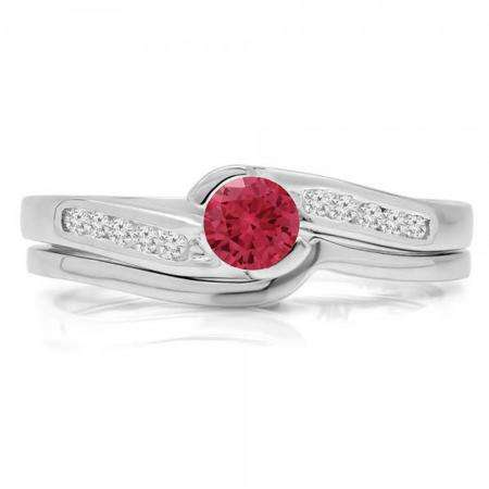 0.50 Carat (ctw) 10K White Gold Round Red Ruby & White Diamond Ladies Bridal Engagement Ring Set Matching Band 1/2 CT