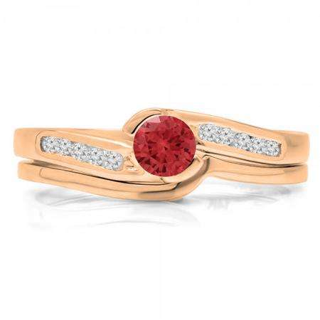 0.50 Carat (ctw) 18K Rose Gold Round Red Ruby & White Diamond Ladies Bridal Engagement Ring Set Matching Band 1/2 CT