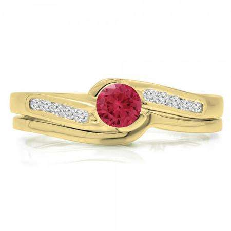 0.50 Carat (ctw) 18K Yellow Gold Round Red Ruby & White Diamond Ladies Bridal Engagement Ring Set Matching Band 1/2 CT