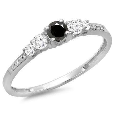 0.40 Carat (ctw) 10K White Gold Round Cut Black & White Diamond Ladies Bridal 5 Stone Engagement Ring