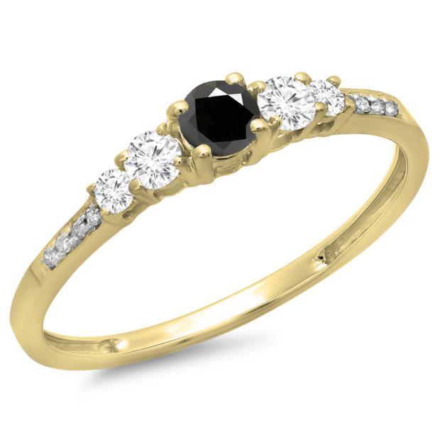 0.40 Carat (ctw) 10K Yellow Gold Round Cut Black & White Diamond Ladies Bridal 5 Stone Engagement Ring