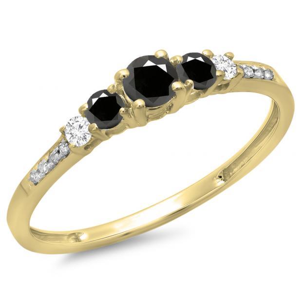 0.40 Carat (ctw) 14K Yellow Gold Round Cut Black & White Diamond Ladies Bridal 5 Stone Engagement Ring