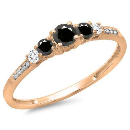0.40 Carat (ctw) 18K Rose Gold Round Cut Black & White Diamond Ladies Bridal 5 Stone Engagement Ring