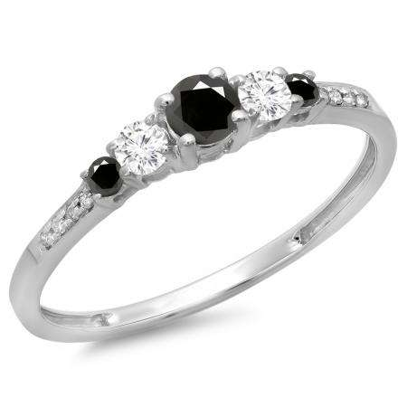 0.40 Carat (ctw) 14K White Gold Round Cut Black & White Diamond Ladies Bridal 5 Stone Engagement Ring