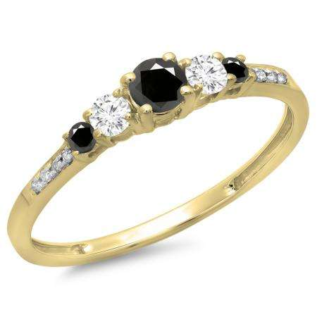 0.40 Carat (ctw) 14K Yellow Gold Round Cut Black & White Diamond Ladies Bridal 5 Stone Engagement Ring
