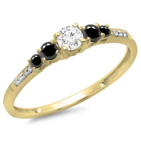 0.40 Carat (ctw) 10K Yellow Gold Round Cut Black & White Diamond Ladies Bridal 5 Stone Engagement Ring