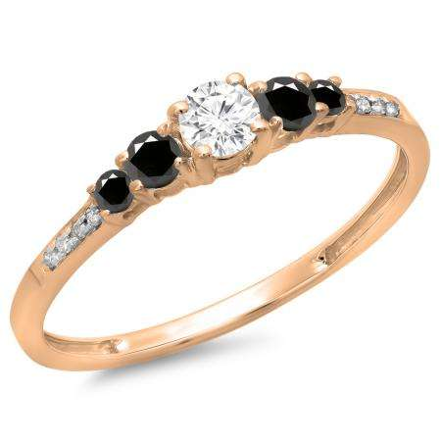 0.40 Carat (ctw) 14K Rose Gold Round Cut Black & White Diamond Ladies Bridal 5 Stone Engagement Ring