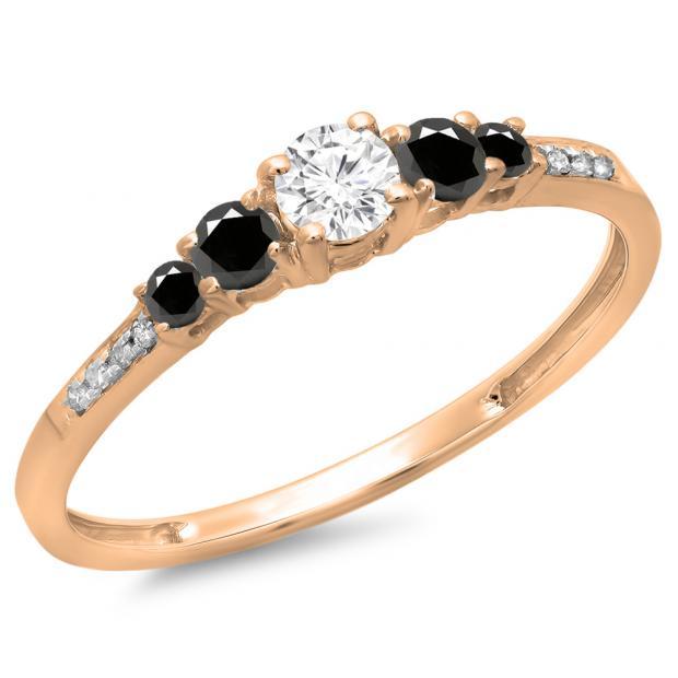 0.40 Carat (ctw) 18K Rose Gold Round Cut Black & White Diamond Ladies Bridal 5 Stone Engagement Ring