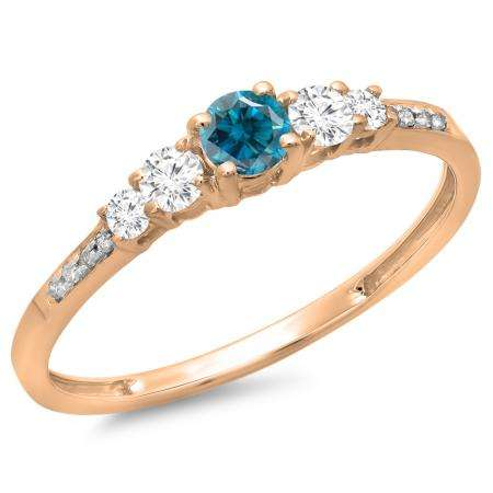0.40 Carat (ctw) 10K Rose Gold Round Cut Blue & White Diamond Ladies Bridal 5 Stone Engagement Ring
