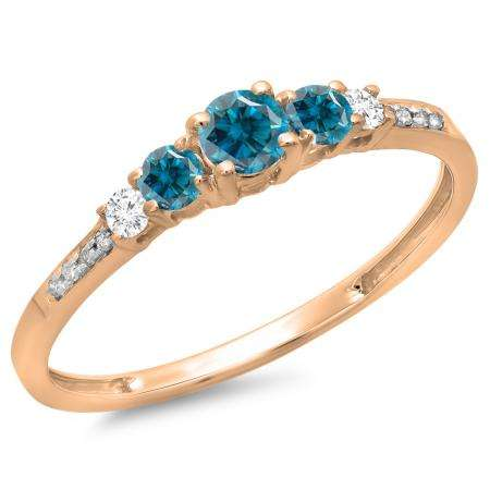 0.40 Carat (ctw) 18K Rose Gold Round Cut Blue & White Diamond Ladies Bridal 5 Stone Engagement Ring