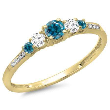 0.40 Carat (ctw) 10K Yellow Gold Round Cut Blue & White Diamond Ladies Bridal 5 Stone Engagement Ring