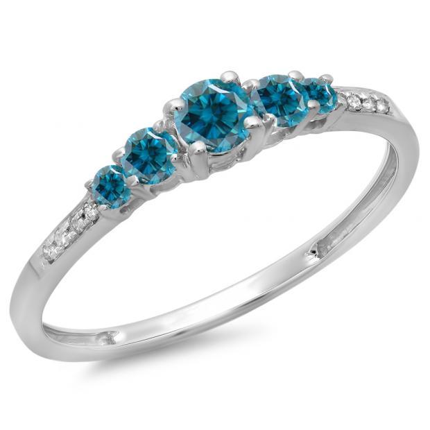 0.40 Carat (ctw) 10K White Gold Round Cut Blue & White Diamond Ladies Bridal 5 Stone Engagement Ring