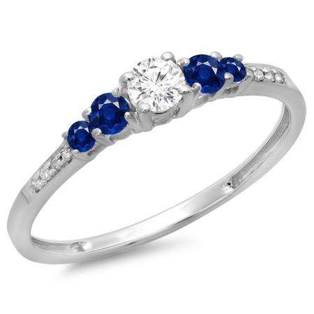0.40 Carat (ctw) 10K White Gold Round Cut Blue Sapphire & White Diamond Ladies Bridal 5 Stone Engagement Ring