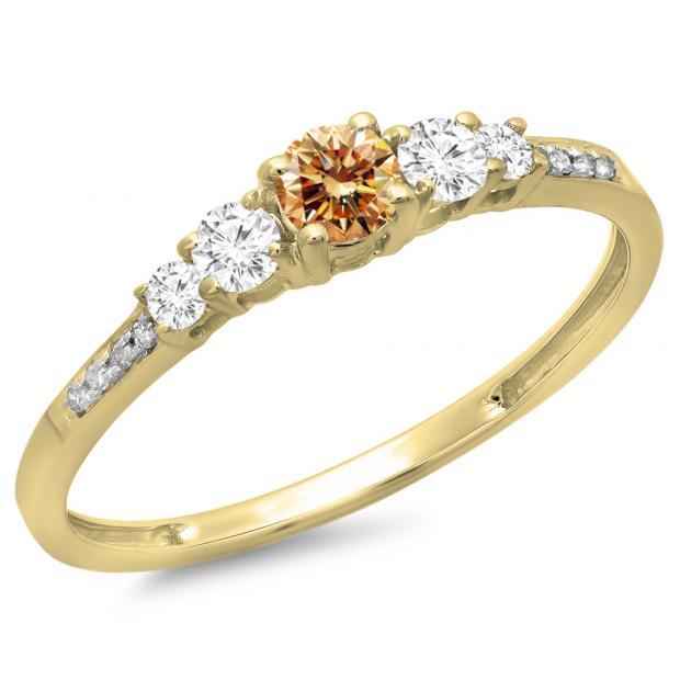 0.40 Carat (ctw) 10K Yellow Gold Round Cut Champagne & White Diamond Ladies Bridal 5 Stone Engagement Ring