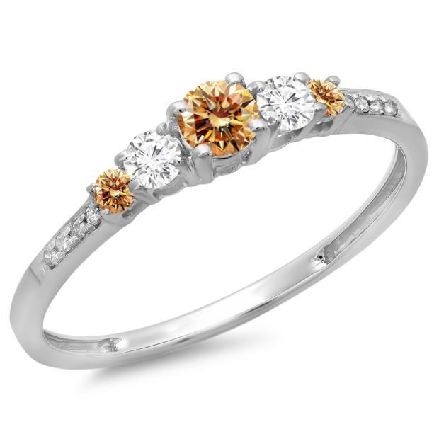 0.40 Carat (ctw) 10K White Gold Round Cut Champagne & White Diamond Ladies Bridal 5 Stone Engagement Ring