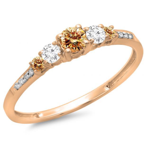 0.40 Carat (ctw) 18K Rose Gold Round Cut Champagne & White Diamond Ladies Bridal 5 Stone Engagement Ring