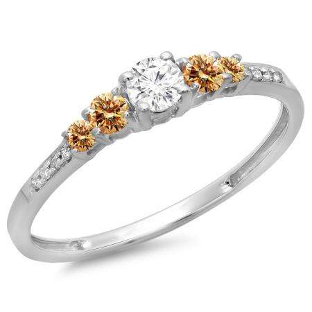 0.40 Carat (ctw) 14K White Gold Round Cut Champagne & White Diamond Ladies Bridal 5 Stone Engagement Ring