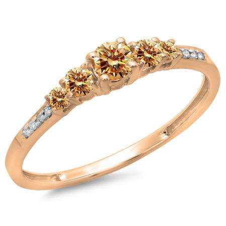 0.40 Carat (ctw) 10K Rose Gold Round Cut Champagne & White Diamond Ladies Bridal 5 Stone Engagement Ring
