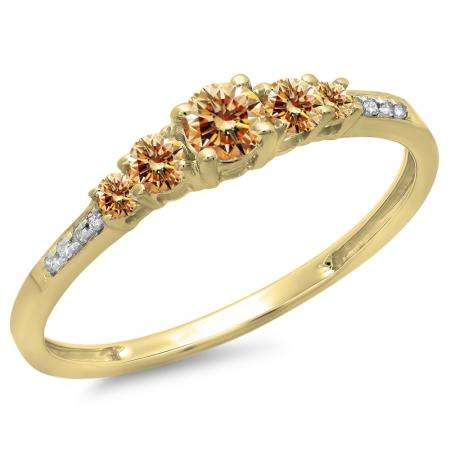 0.40 Carat (ctw) 10K Yellow Gold Round Cut Champagne & White Diamond Ladies Bridal 5 Stone Engagement Ring