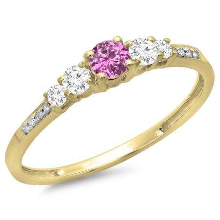 0.40 Carat (ctw) 18K Yellow Gold Round Cut Pink Sapphire & White Diamond Ladies Bridal 5 Stone Engagement Ring