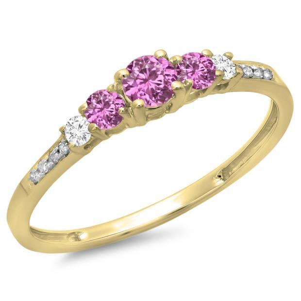 0.40 Carat (ctw) 10K Yellow Gold Round Cut Pink Sapphire & White Diamond Ladies Bridal 5 Stone Engagement Ring