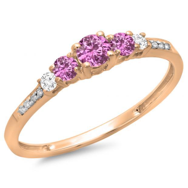 0.40 Carat (ctw) 14K Rose Gold Round Cut Pink Sapphire & White Diamond Ladies Bridal 5 Stone Engagement Ring