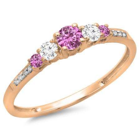 0.40 Carat (ctw) 18K Rose Gold Round Cut Pink Sapphire & White Diamond Ladies Bridal 5 Stone Engagement Ring