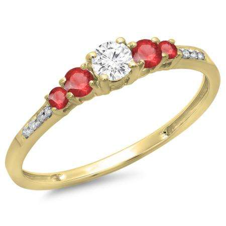 0.40 Carat (ctw) 10K Yellow Gold Round Cut Red Ruby & White Diamond Ladies Bridal 5 Stone Engagement Ring