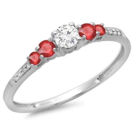 0.40 Carat (ctw) 14K White Gold Round Cut Red Ruby & White Diamond Ladies Bridal 5 Stone Engagement Ring